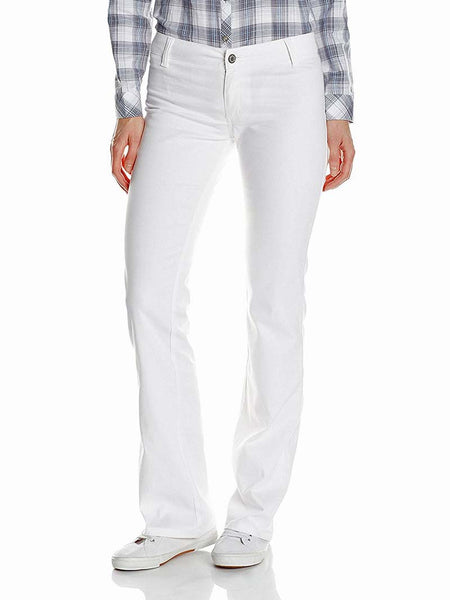 Dickies Girl Juniors Worker 2 Back Pockets Bootcut Pant N882-WHT White