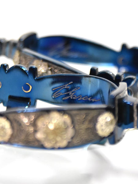 E. Garcia Authentic Blue Inlay w/ Jingle Bobs Cowboy Boot Spurs SP2271 close up