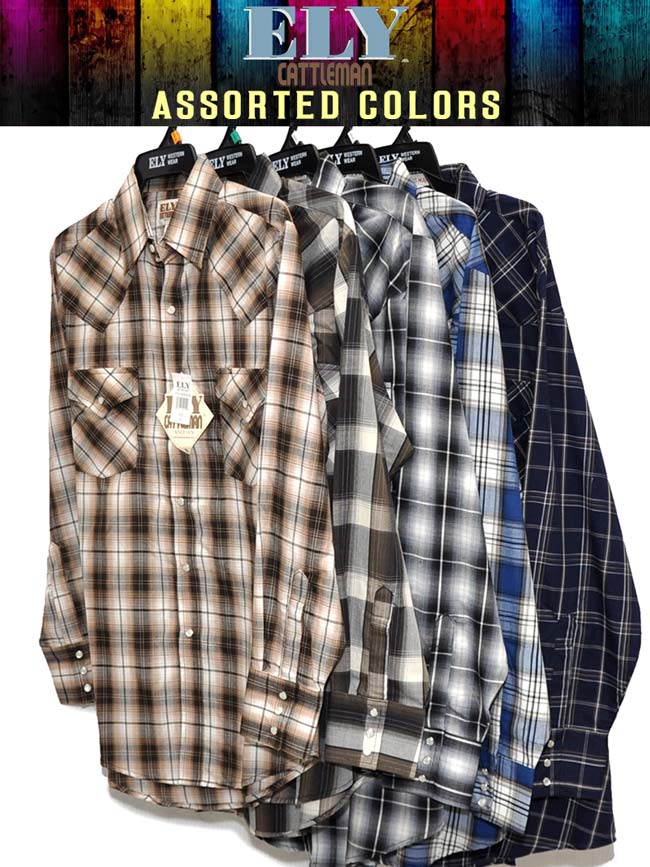 Ely Cattleman Mens Assorted Western Long Sleeve Plaid Shirt 15202907