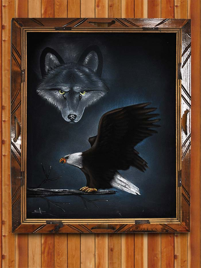 Eagle and Wolf Oil Painting on Velvet 19x23
