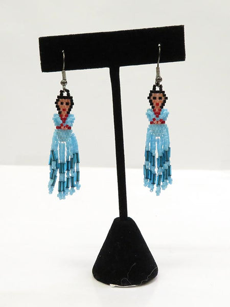 Native American Navajo Girl Handmade Beaded Earrings Set JCE401 Display