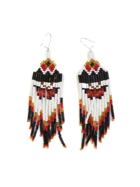 Native American Sioux Handmade Beaded Earrings Set JCE402 Black Close Up