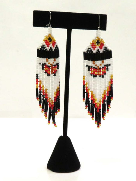 Native American Sioux Handmade Beaded Earrings Set JCE402 Black Hanging