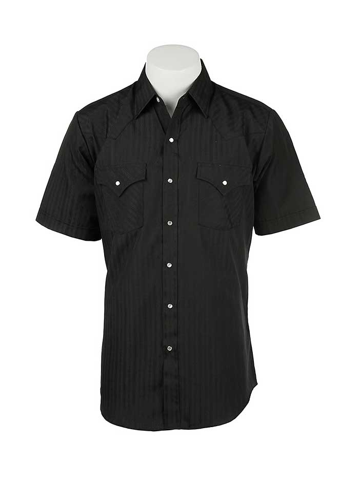 Ely Cattleman Short Sleeve Tone-on-Tone Black Western Shirt 15201634-89
