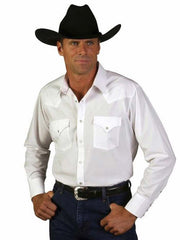 Ely Cattleman Long Sleeve Solid White Western Shirt 15201905-01