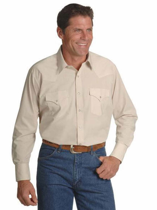Ely Cattleman Long Sleeve Solid Tan Western Shirt 15201905-23