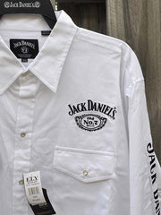 Ely Cattleman Jack Daniel's Long Sleeve White Western Shirt 15225006JD-01 pocket