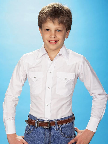 7574f600 Ely Cattleman Kids Long Sleeve Solid White Western Shirt