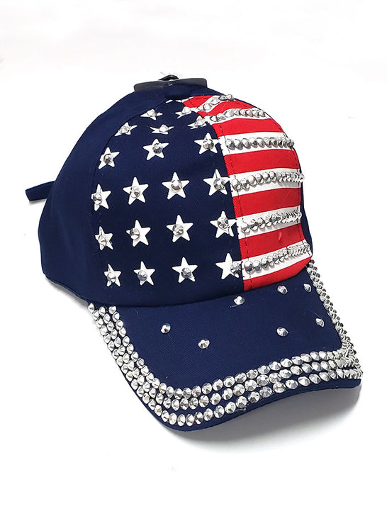 CSi Headwear Fully Blinged Out American Flag Cap Multi-Colored