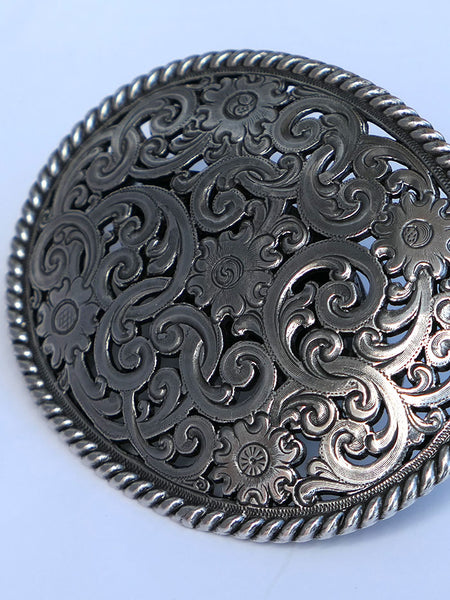 Classic Western Cut Floral Accent Belt Buckle TB401 Closeup
