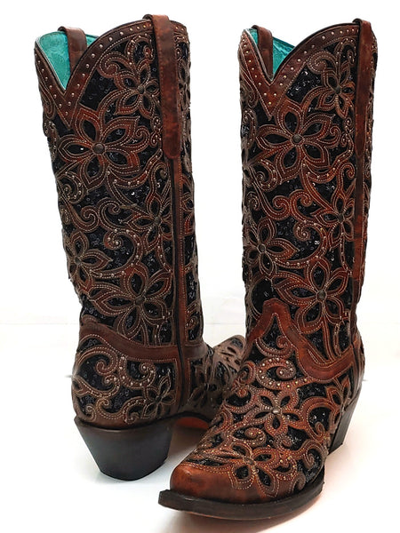 A3752 Corral Women/'s Inlay Embroidery Western Boot Snip Toe