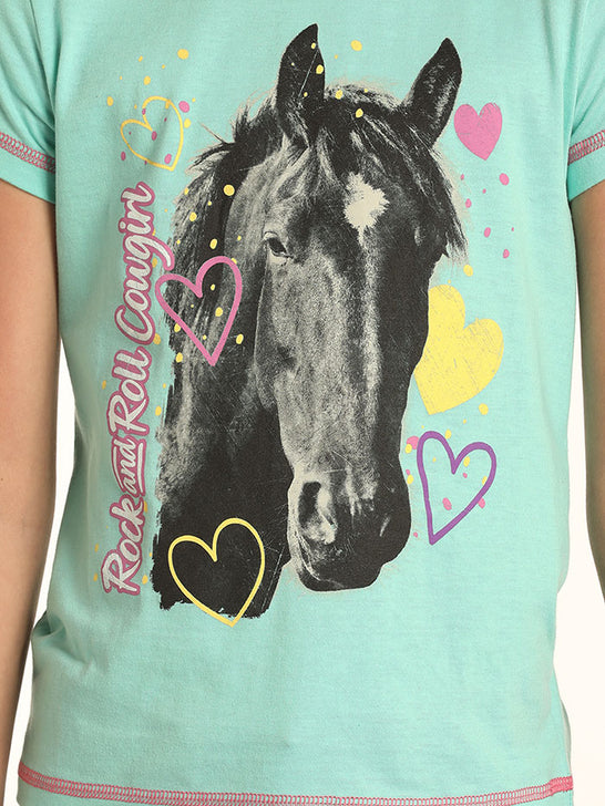 Rock & Roll Cowgirl G3T4645 Girls Crew Neck and Horse SS Graphic Tee