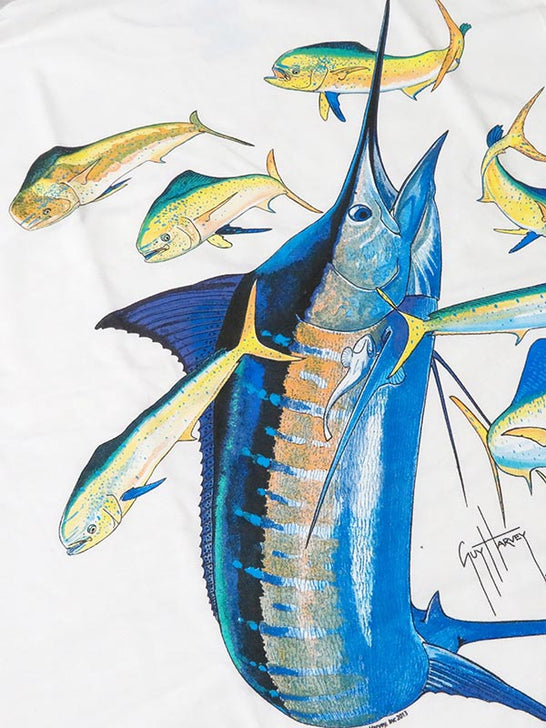 Guy Harvey Mens Marlin Dorado Short Sleeve T-Shirt MTH1206 WHITE Graphic