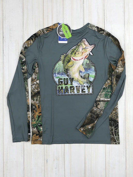 Guy Harvey GHV55350 Mens Camo RealTree Longsleeve Performance Tee Charcoal Back View