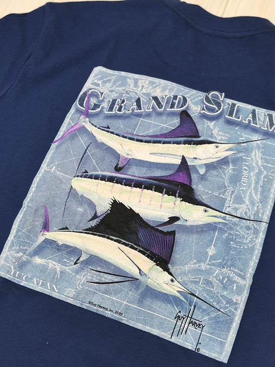 Guy Harvey GHV56001 Mens Grand Slam Short Sleeve Pocket Tee Estate Blue CLOSE UP
