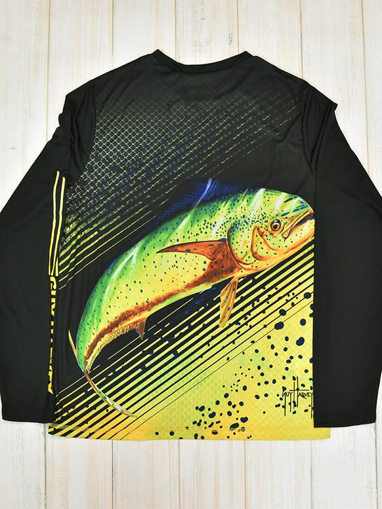 Guy Harvey GVKF9231GY Mens Cavier Pro Performance LS T-Shirts Black Back View