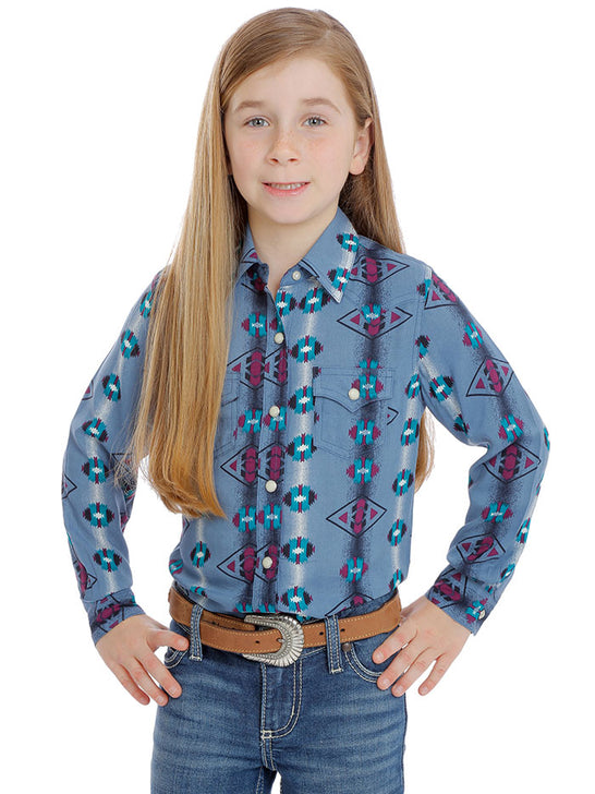 Wrangler GW8029M Girls Checotah Aztec Print Long Sleeve Shirt Slate Blue Front View
