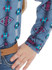 Wrangler GW8029M Girls Checotah Aztec Print Long Sleeve Shirt Slate Blue Cuff