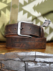 Gingerich Handcrafted Croc Print USA Made Belt 8244-36 Brown