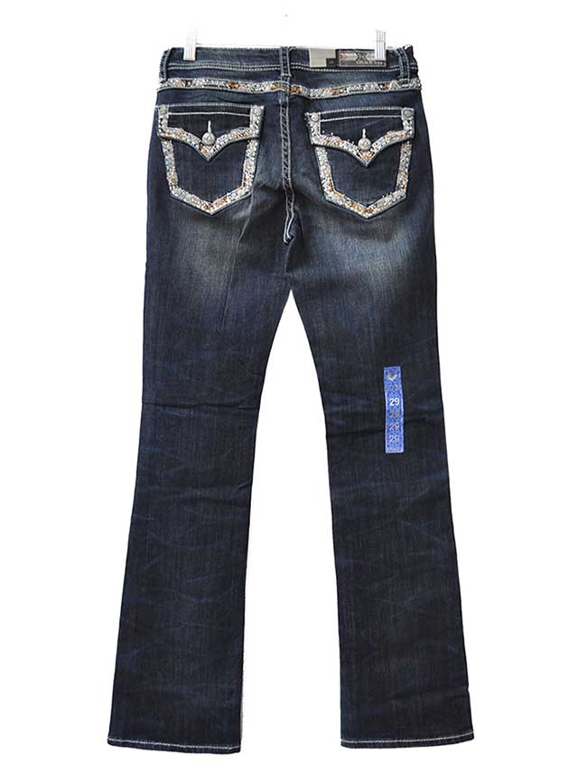 Grace In LA Easy Fit Sequin Rhinestone Accents Denim Jean EB-81001 Grace in LA - J.C. Western® Wear