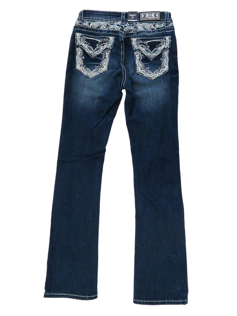 Grace In LA Embroidery Rhinestone Accents Bootcut Jeans EB51299