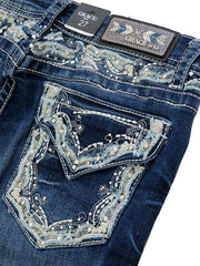 Close Up Grace In LA Embroidery Rhinestone Accents Bootcut Jeans EB51299