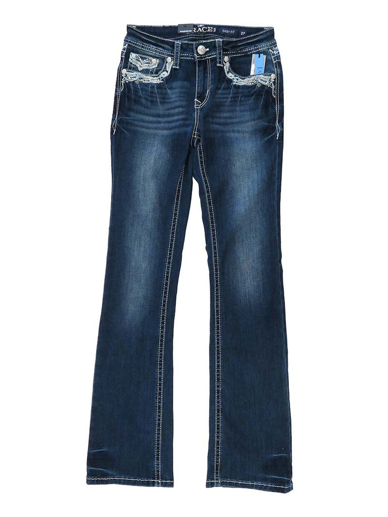 Back view of Grace In LA Embroidery Rhinestone Accents Bootcut Jeans EB51299