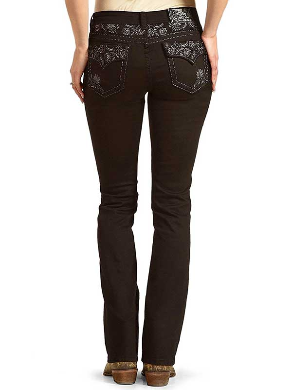 Grace in LA Floral Embroidered Rhinestone Accents Bootcut Jeans EB81097 Black