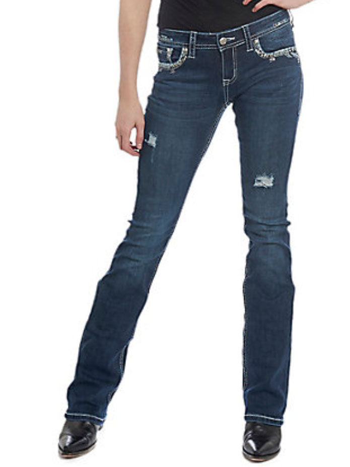 Grace in LA JB-51372 Womens Stitched Embellished Bootcut Jeans Dark Wash  back 51372