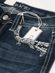 Grace in LA JB-51372 Womens Stitched Embellished Bootcut Jeans Dark Wash Close up