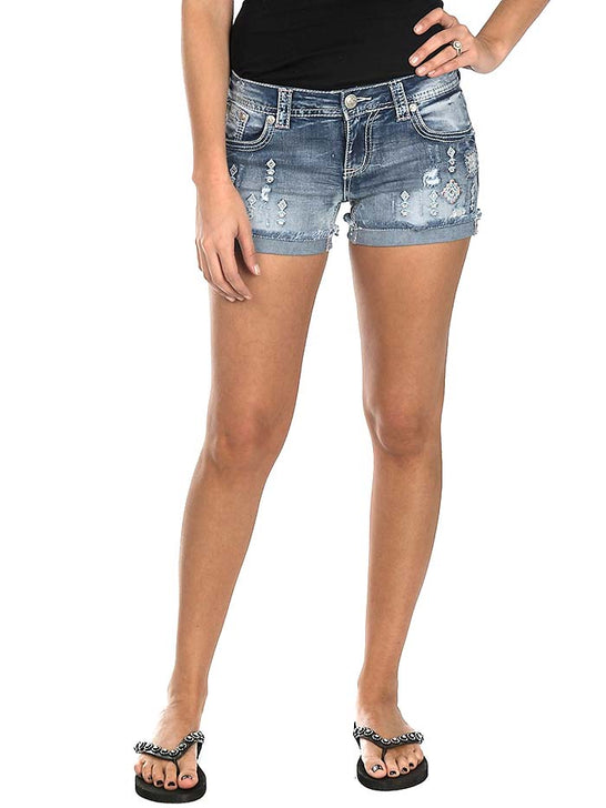 Grace in LA Women's Medium Wash with Pink and Blue Embroidery Open Back Pocket Shorts JHW-5975 Grace in LA - J.C. Western® Wear