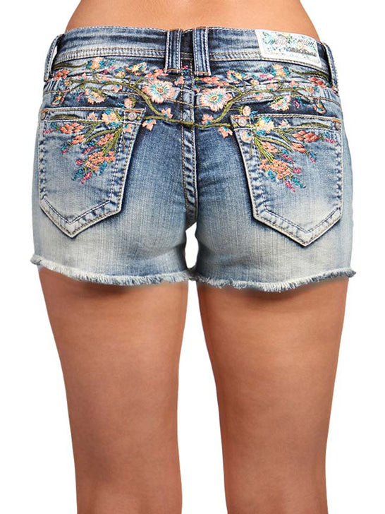 Grace in LA Womens Denim Floral Embroidered Shorts JHW6970 Grace in LA - J.C. Western® Wear