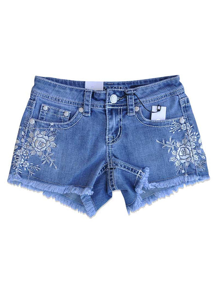Grace in LA Floral Embroidery Denim Cutoff Short JHW-3180