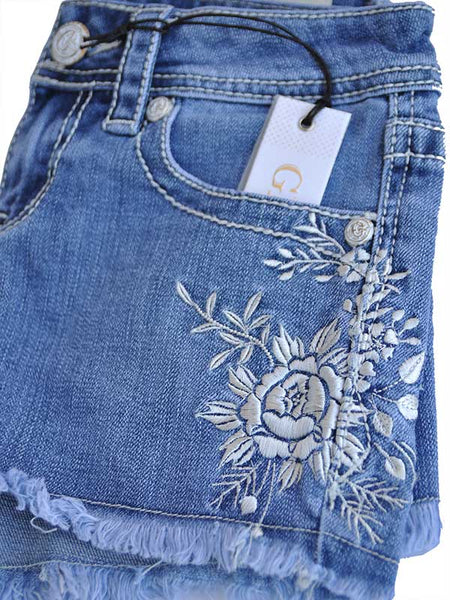 Grace in LA JHW-3180 Womens Floral Embroidery Denim Cutoff Short