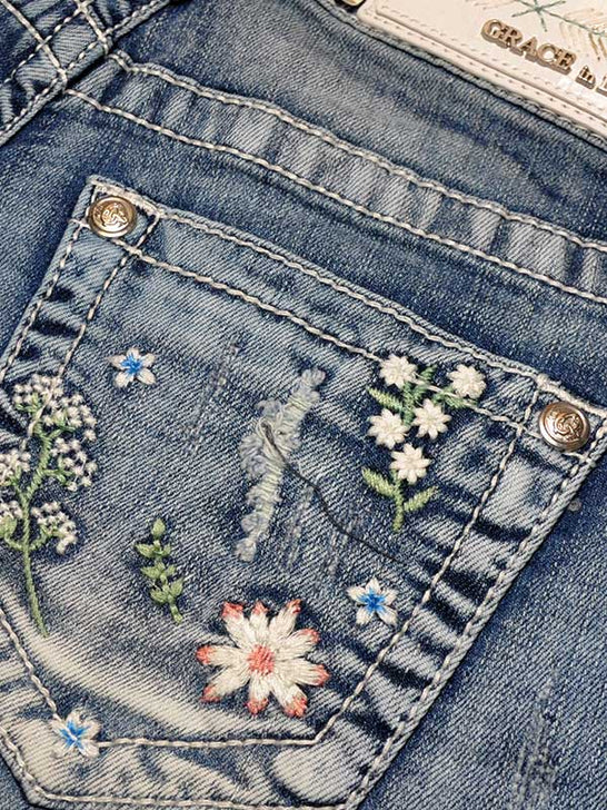 Grace in LA Daisy Embroidery Denim Cutoff Shorts JHW51273