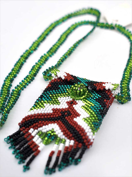 Native American Green Peyote Beaded Medicine Bag Necklace J.C. Western® Wear - J.C. Western® Wear