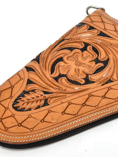 Small Hand Tooled Western Leather Pistol Case XIGN-S1