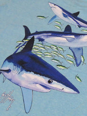 Guy Harvey Kids Mako Reef T-Shirt BTH41457 Sky Blue Design Close Up
