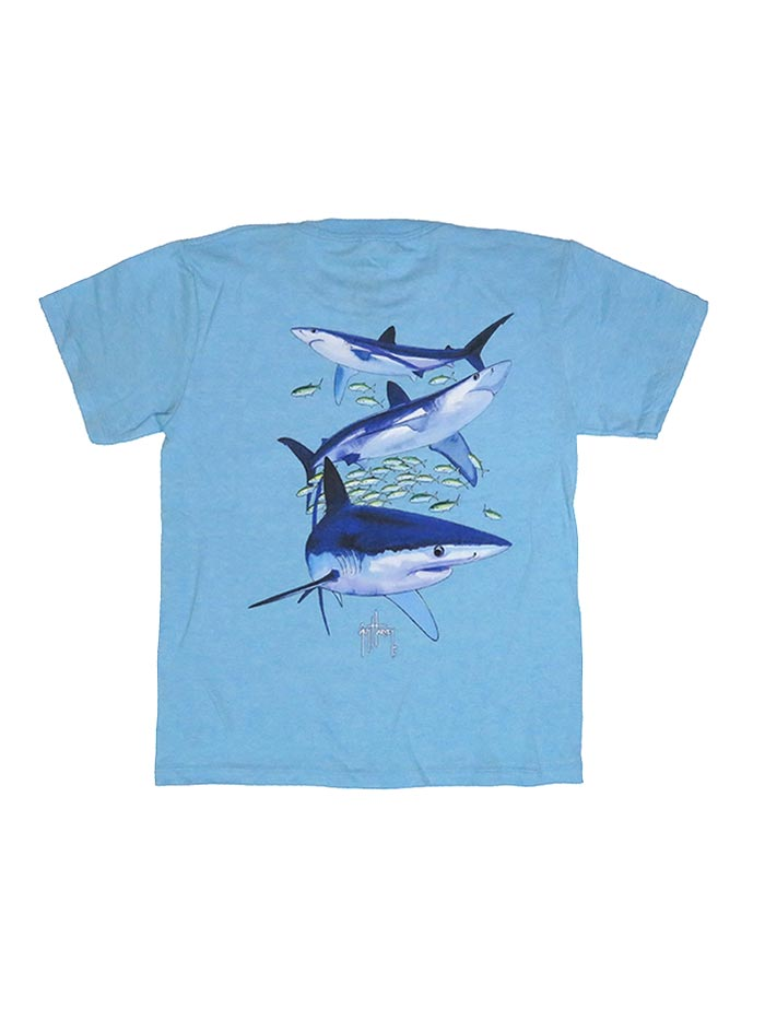 Guy Harvey Kids Mako Reef T-Shirt BTH41457 Sky Blue Back