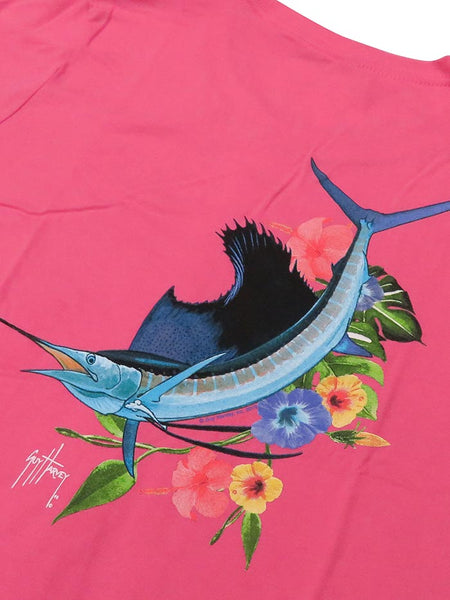 Guy Harvey Womens Vine Short Sleeve T-Shirt LTH41462 Pink Close Up Graphic