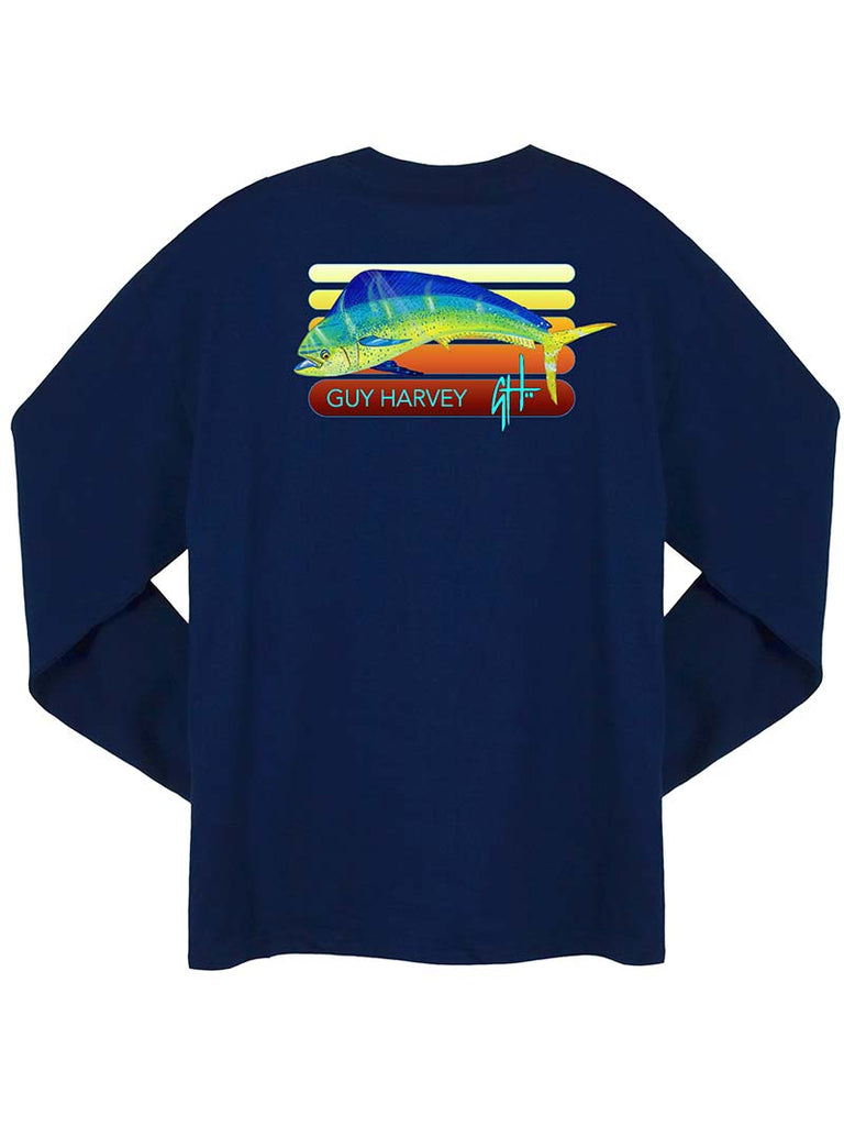 Guy Harvey Radiant Long Sleeve Pocketed Tee Shirts MTH21363 Navy
