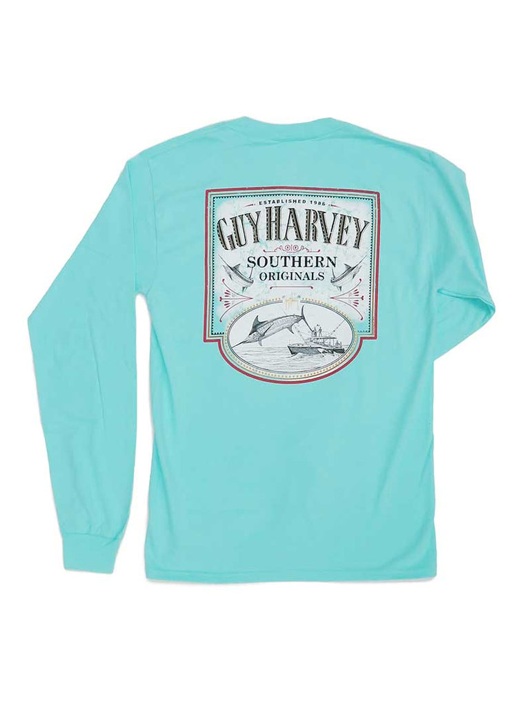 Guy Harvey Mens Sweet Caramel Long Sleeve T-Shirt MTH21138 Mint