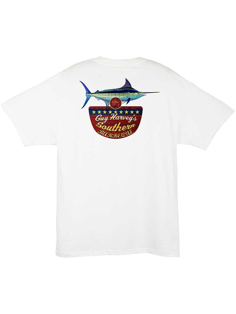 Guy Harvey Mens Southern BBQ Pocketed T-Shirt MTH11374 White