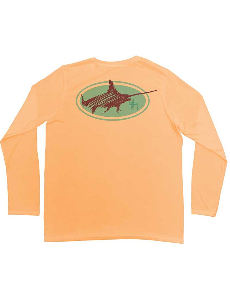 Guy Harvey Mens Swordsmith UVX Longsleeve Performance Tee MH68831 Mango (D)