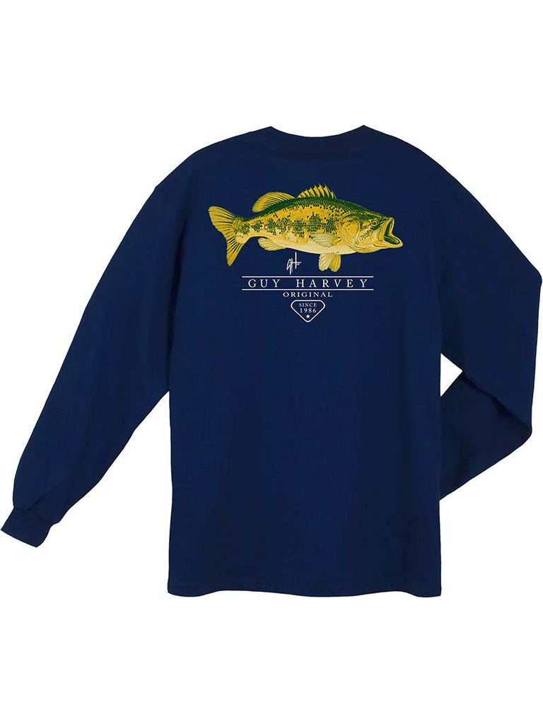 Guy Harvey Mens Combat Long Sleeve Pocket T-Shirt MTH21428 Navy