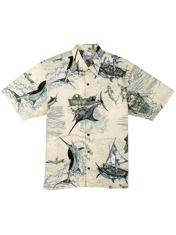 Guy Harvey Mens Santiago's Big Blue Woven Classic Shirt MH79303 Natural