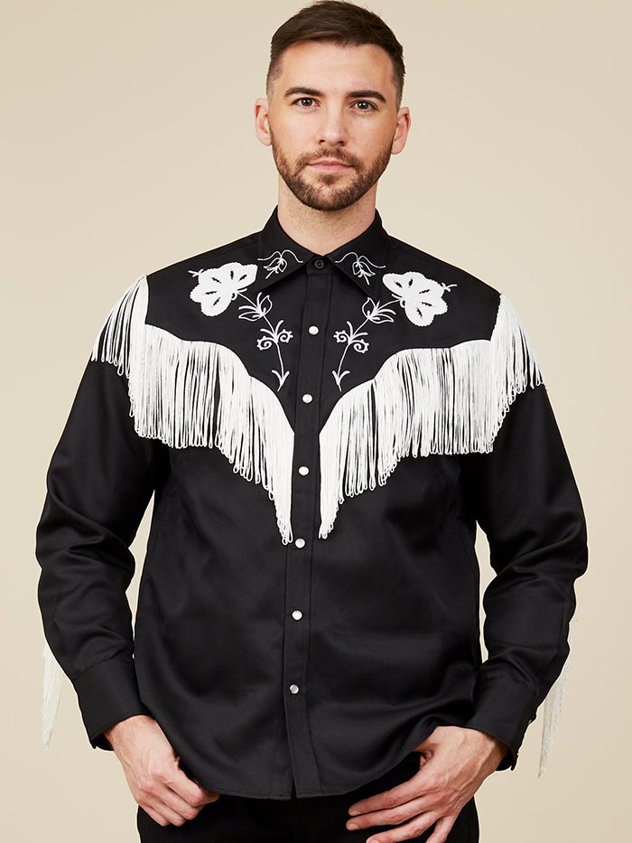 H-Bar-C Ranchwear Mens THE TAOS Tencel Embroidery Shirt MSW009 Blue Black Red