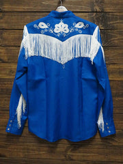 H-Bar-C Ranchwear Mens THE TAOS Tencel Embroidery Shirt MSW009ROY Blue Back