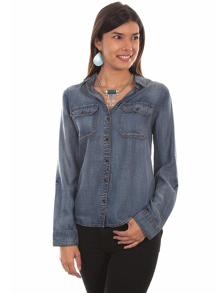 Scully HC473 Womens Button-Up Long Sleeve Denim Blouse