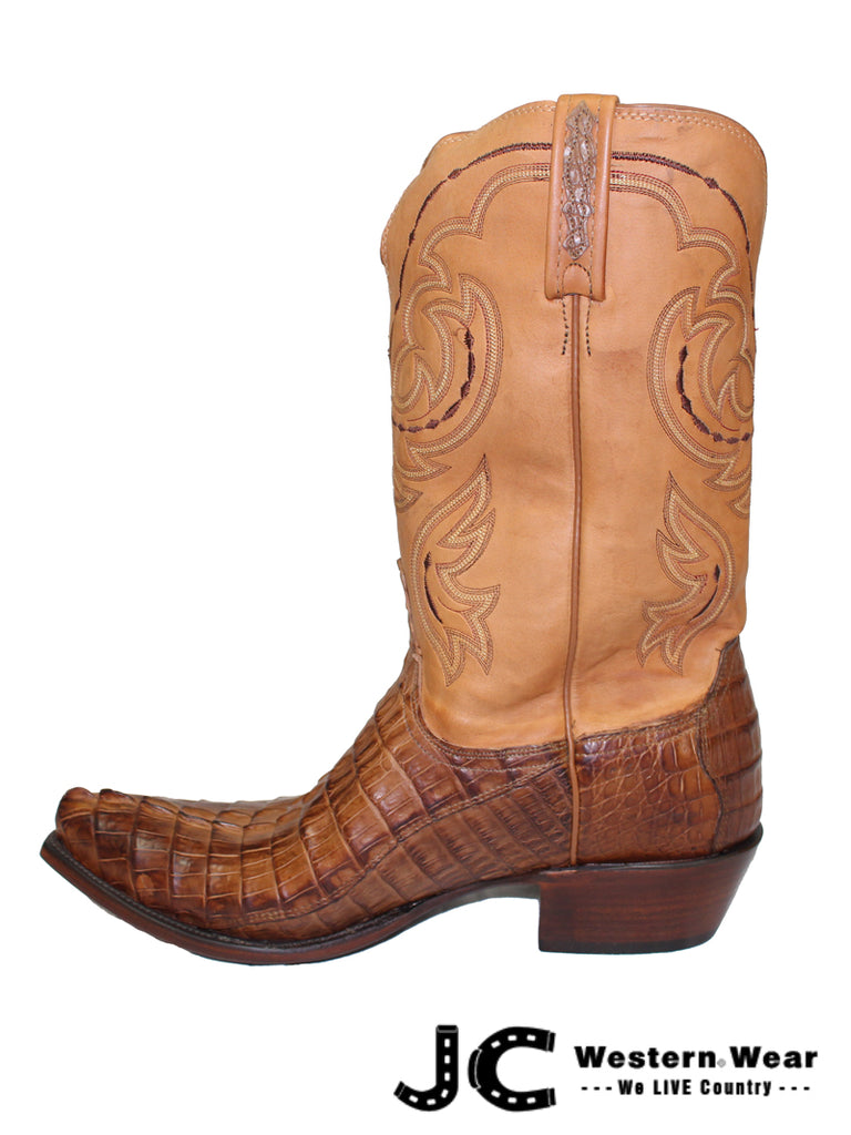 Mens Lucchese Heritage Tan Burnished Hornback Tail Caiman Boots HL1004 54